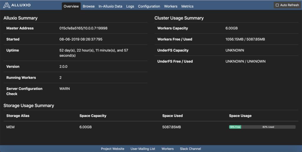 Alluxio monitor UI